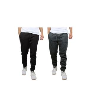Men's Slim-Fit Marled Fleece Joggers with Zipper Side Pockets