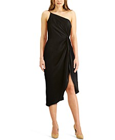 One-Shoulder Draped Midi Sheath Dress