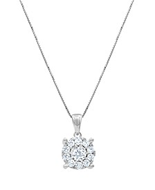 "Diamond Halo 18"" Pendant Necklace (3/4 ct. t.w.) in 14k White, Yellow or Rose Gold"