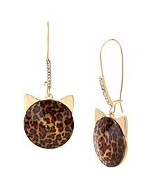 Leopard Stone Cat Long Drop Earrings