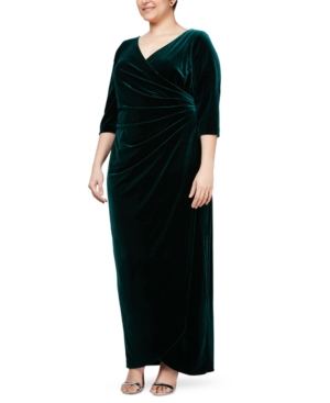 1940s Evening, Prom, Party, Formal, Ball Gowns Alex Evenings Plus Size Velvet Surplice Dress With Tulip Overlay $124.99 AT vintagedancer.com