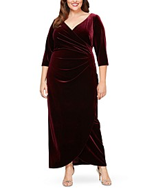 Plus Size Velvet Surplice Dress With Tulip Overlay