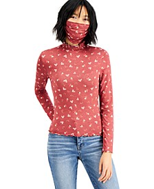 Juniors' Floral-Print Mock-Neck Top & Mask Set