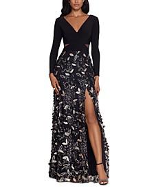 Petite Embellished V-Neck Gown