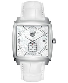 Women's Swiss Monaco Diamond (1/10 ct. t.w.) White Alligator Leather Strap Watch 37mm