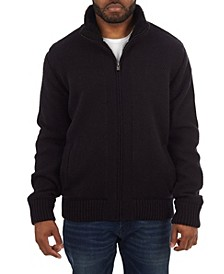 Men's Color Blocked Full-Zip High Neck Sweater Jacket