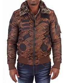 Men's Flight Jacket with Detachable Plush Collar
