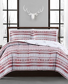 CLOSEOUT! Holiday Fair Isle 3-Pc. Reversible Full/Queen Comforter Set, Created for Macy's