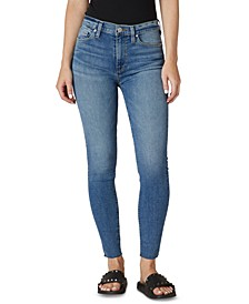 Barbara High-Rise Frayed-Hem Ankle Skinny Jeans