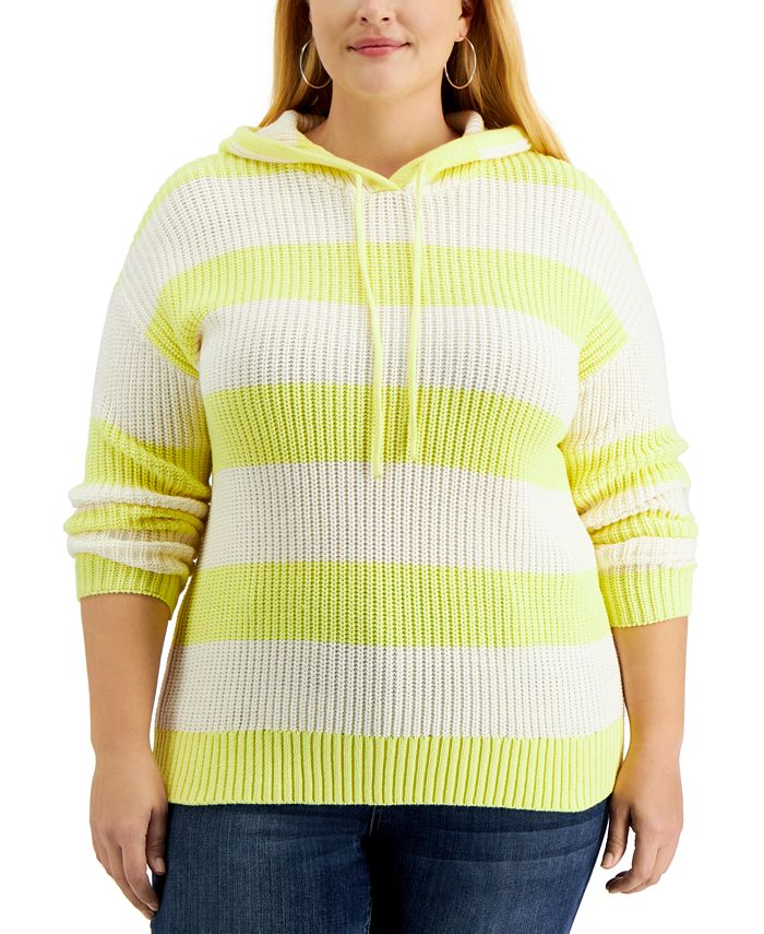 Style & Co - Plus Size Striped Ribbed Hoodie Sweater