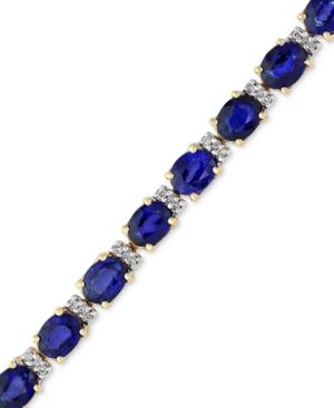 Velvet Bleu by Effy Manufactured Diffused Sapphire (12 ct. t.w.) and Diamond (1/4 ct. t.w.) Tennis Bracelet in 14k Gold