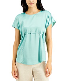 Mixed-Media Drawstring Blouse, Created for Macy's