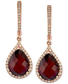 Gemma by EFFY® Garnet (8-1/3 ct. t.w.) and Diamond (1/3 ct. t.w.) Pear Drop Earrings in 14k Rose Gold