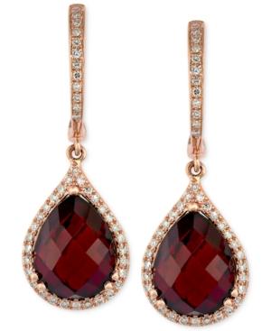 Gemma by Effy Garnet (8-1/3 ct. t.w.) and Diamond (1/3 ct. t.w.) Pear Drop Earrings in 14k Rose Gold