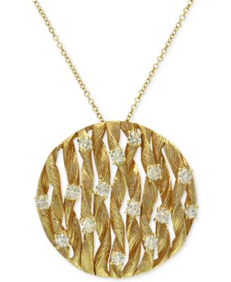 DOro by EFFY Diamond Textured Circle Pendant 34 ct tw in 14k