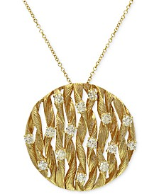 D'Oro by EFFY Diamond Textured Circle Pendant (3/4 ct. t.w.) in 14k Gold
