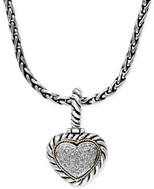 Balissima by EFFY® Diamond Heart Pendant (1/5 ct. t.w.) in Sterling Silver and 18k Gold