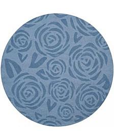Block Print Rose MSR4618B Mist 4' x 4' Round Area Rug