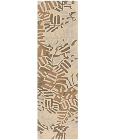 "Palm Leaf MSR4548A Brown 2'3"" x 8' Runner Rug"