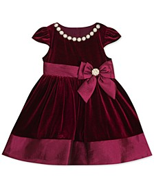 Baby Girls Stretch Velvet Fit and Flare Dress with Taffeta Bow