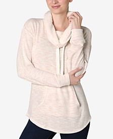 Juniors' Faux-Sherpa Lined Funnel Neck Sweatshirt
