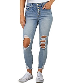 Juniors High Rise Distressed Button-Fly Jeans