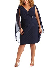 Plus Size Embellished Chiffon-Cape Dress