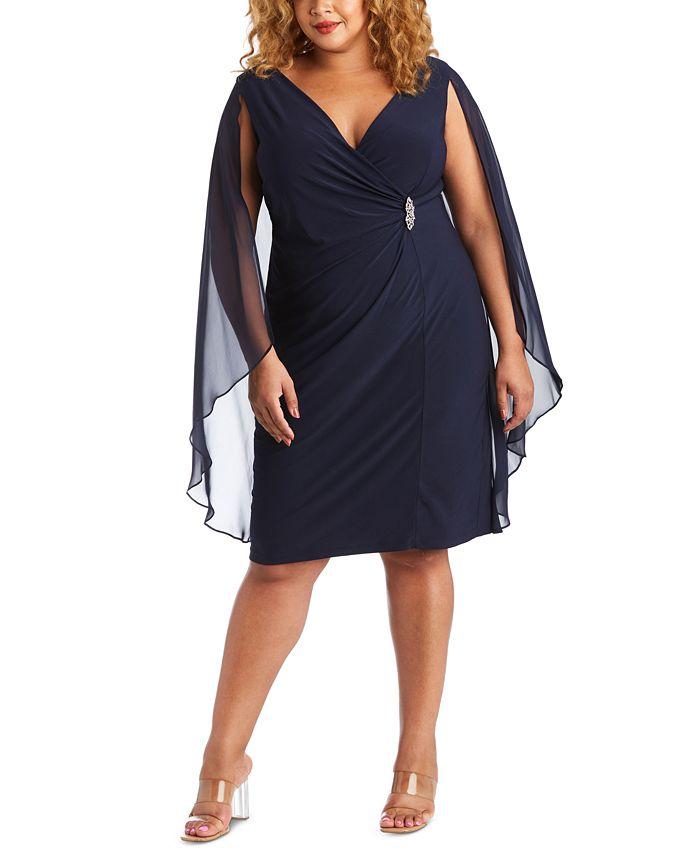 R & M Richards - Plus Size Embellished Chiffon-Cape Dress
