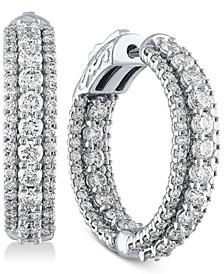 """Diamond Triple Row In & Out Hoop Earrings (3 ct. t.w.) in 14k White Gold, 1"""""""