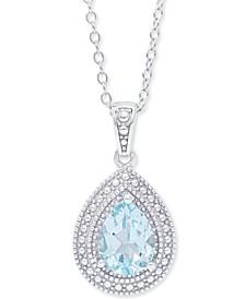 """Blue Topaz Teardrop 18"""" Pendant Necklace (1-5/8 ct. t.w.) in Sterling Silver"""