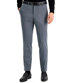 Men's Regular-Fit Silver Micro-Check Suit Pants