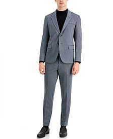 Men's Modern-Fit Silver Micro-Check Suit Separates