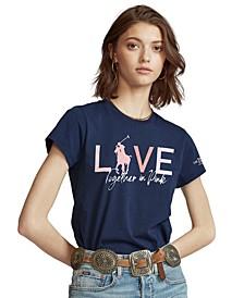 Women's Pink Pony Cotton Crewneck T-Shirt