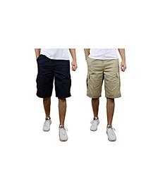Men's Flat Front Cotton Cargo Shorts - 2 Pack