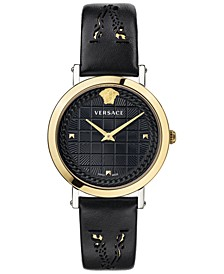 Women's Swiss Medusa Chain Black Leather Strap Watch 37mm