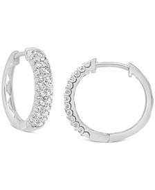 Diamond Hoop Earrings (1/2 ct. t.w.) in 14k White Gold.
