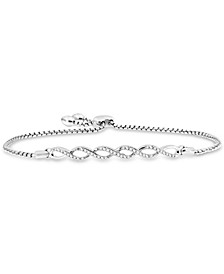 Diamond Infinity Link Bolo Bracelet (1/6 ct. t.w.) in Sterling Silver