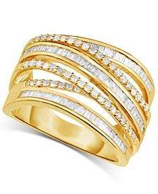 Diamond Multi-Row Crossover Statement Ring (1-1/4 ct. t.w.) in Yellow Gold-Plated Sterling Silver