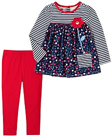 2 Piece Little Girls Stripe with Floral Print Tunic and Legging Set