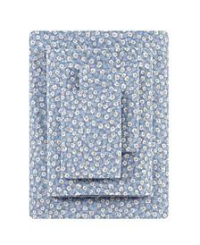 Button Floral Percale Queen Sheet Set