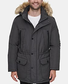 Men's Long Snorkel Coat with Faux-Fur Trimmed Hood