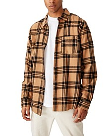 Men's Washed Long Sleeve Check Shirt
