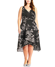 Adrianna Papell Plus Size Floral-Print High-Low Dress