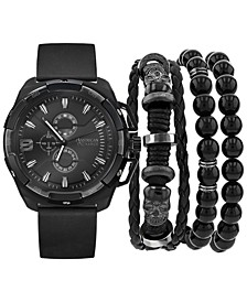 Men's Black Polyurethane Strap Watch 40mm Gift Set