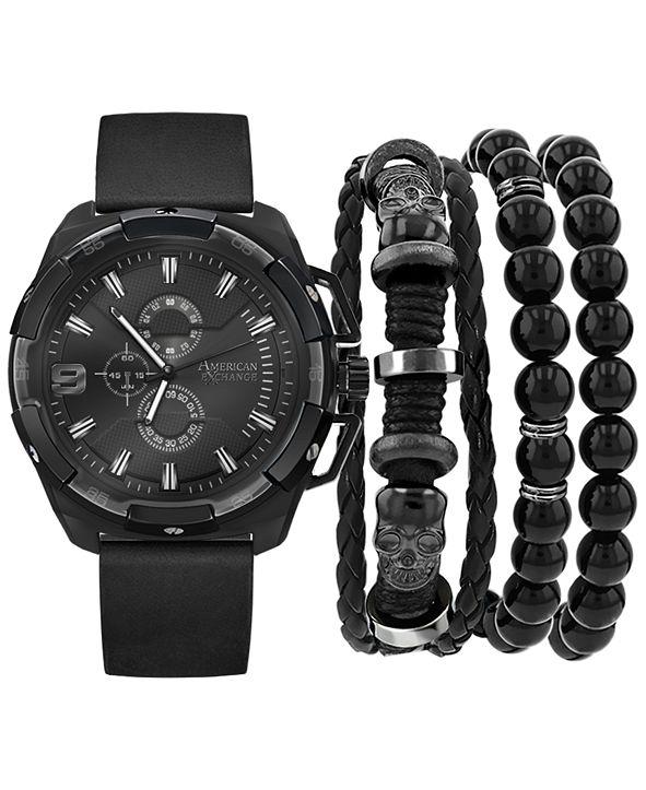 American Exchange Men's Black Polyurethane Strap Watch 40mm Gift Set
