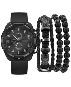 Men's Black Polyurethane Strap Watch 40mm Gift Set