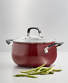 Nonstick Aluminum Red 3-Qt. Soup Pot with Lid, Created for Macy's