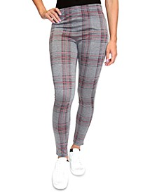 Juniors' Plaid Double-Knit Leggings
