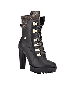 Women's Tessey High Heel Combat Booties