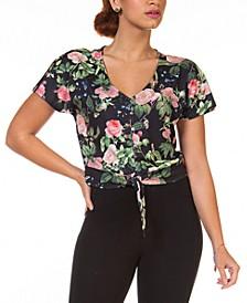 Petite Floral-Print Tie-Front Top